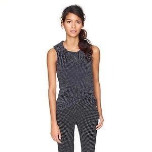 J. Crew silk Gabbi navy blue polka dot top